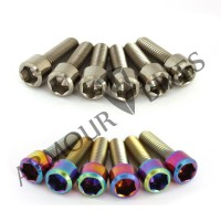 Mertic Titanium stem bolts M6x1x20mm MTB oil slick silver 6pcs