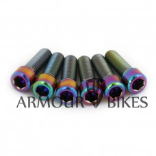 Mertic Titanium stem bolts M8x1.25 BMX oil slick 6pcs