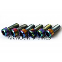 Profile Madera Titanium stem bolts 5/16x18tpi BMX oil slick 6pcs