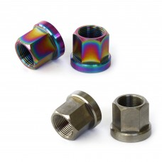 Titanium Hub Axle Nuts 14mm Oil Slick Silver