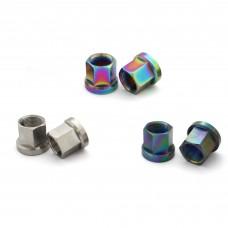 Titanium Hub Axle Nuts 14mm Oil Slick Silver
