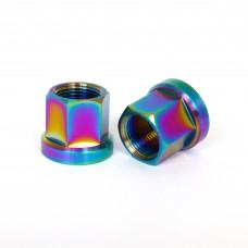 Titanium Hub Axle Nuts 14mm Oil Slick