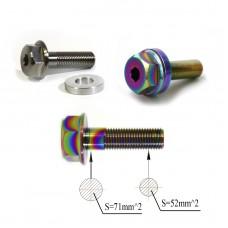 "Titanium ""GoGrind"" hub bolt 3/8x24tpi Ti-6Al-4V Oil Slick Silver"