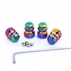 Anti-theft Tire Valve Caps 4pcs Oil Slick Rainbow Jet Fuel