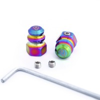 Anti-theft Tire Valve Caps 2pcs. Oil Slick Rainbow Jet Fuel